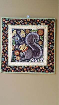 Art Quilt Country Squirrel Wallhanging Bohemia by by djwquilts
