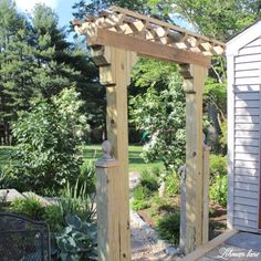 DIY Wooden Arbor - Lehman Lane Even though old with notion, your pergola have been Patio Diy, Patio Pergola, Pergola Swing, Pergola Shade, Backyard Patio, Wisteria Pergola, Patio Fence, Garage Pergola, Curved Pergola
