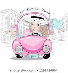 Vector de stock (libre de regalías) sobre La Bicicleta de Amo Niña Flora1257097261 Little Girl Drawing, Car Drawings, Cute Cars, Art Girl, Little Girls, Royalty Free Stock Photos, Clip Art, Beautiful, Illustration
