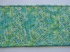 Quilted Toilet Tank Topper - Dragonflies - Greens - Small Table Runner - Reversible