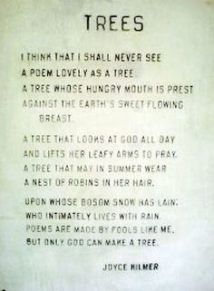 poem as lovely as a tree author