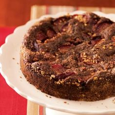 Plum-Topped Chocolate Kuchen Recipe -Plums star in this rich cake. Four to five medium plums will yield 2 cups sliced. Coffee Dessert, Pumpkin Dessert, Coffee Cake, Best Plum Recipes, Favorite Recipes, Delicious Desserts, Dessert Recipes, Frosting Recipes, Cupcake Recipes