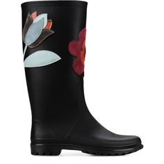 Redvalentino Rain Boot (430 CAD) ❤ liked on Polyvore featuring shoes, boots, black, rubber boots, waterproof boots, black wellington boots, water proof boots and black shoes