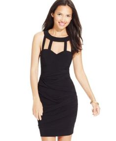 B Darlin Juniors' Strappy Cutout Ruched Dress