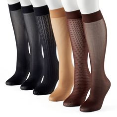 Women's Apt. 9® 6-pk. Assorted Cable Knit Trouser Socks, Size: 9-11, Med Brown