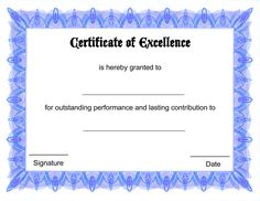 Blank Certificate - Award Certificate Template with Autumn Border ...