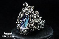 Gothic Fantasy Ring - Vitrail Light Swarovski Ring - Victorian Gothic Jewelry by NocturneHandcrafts on Etsy https://www.etsy.com/listing/187429758/gothic-fantasy-ring-vitrail-light