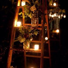 wooden ladder, flowers, mason jars, candles