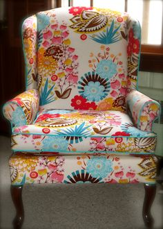 My fabulous new chair, courtesy of Furbish Studio in Raleigh.  The fabric is Anna Maria Horner LouLouThi Summer Totem Tart.