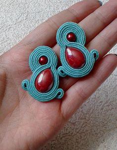 Soutache Earrings мint (green-blue), red colors- Soutache earrings  -  Handmade Earrings. Mint (green-blue), red earrings. Small earrings.