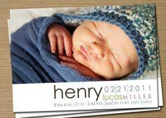 Baby Announcement: Baby Girl, Baby Boy Printable (Hallie Photo Birth Announcement). $15.00, via Etsy.