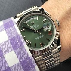 White gold Rolex DD40 with Olive green 60th anniversary dial from @thehighlande... | http://ift.tt/2cBdL3X shares Rolex Watches collection #Get #men #rolex #watches #fashion
