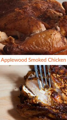 Smoking a chicken is EASY! Wow your taste buds with this melt-in-your-mouth Applewood Smoked Chicken! Prepped with a brown sugar, smoky paprika and garlic based rub, this Applewood Smoked Chicken tastes amazing! Smoked Chicken Rub, Smoked Chicken Recipes, Smoked Whole Chicken, Easy Chicken Recipes, Vegan Recipes Easy, Smoked Chicken Injection Recipe, Smoked Chicken Electric Smoker, Smoked Beef, Smoked Brisket