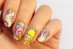 The Simpsons Forever Best Acrylic Nails, Acrylic Nail Designs, Nail Art Designs, Edgy Nails, Trendy Nails, Cute Nail Art, Cute Nails, Cherry Nail Art, Anime Nails