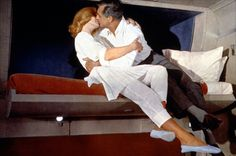 Eva Marie Saint & Cary Grant in one of the great train compartment scenes from NORTH BY NORTHWEST