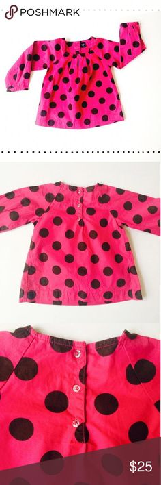 Baby Gap Blouse Hot pink cotton blouse with black polka dot all over design🎀 Crystal button detail at back of neck🎀 excellent used condition 🎀 no flaws 🍬smoke free dog friendly home🍬 suggested user 🍬 5 star rated🍬 fast shipper Baby Gap Dresses