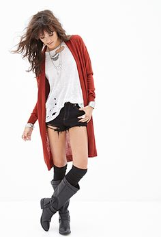 Open-Front Knit Cardigan | FOREVER 21 - 2000067035