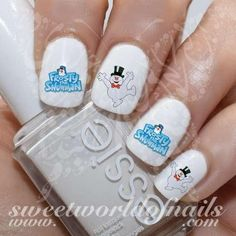Frosty the snowman Nail Art Water Decals Wraps https://www.sweetworldofnails.com #nailart
