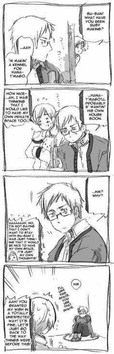 Awww! Sweden gives Finland all that space while he goes sit in the corner! Anybody who says that Sweden is heartless has not even watched Hetalia