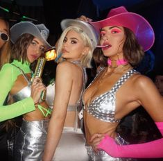 Simi & Haze with Kylie Jenner rockin the Neon Cowboy Light Up Hats