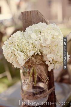 So neat! - Burlap, mason jar, and hydrangeas...beautiful :)