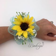 CHOOSE RIBBON COLOR – Sunflower and Baby's Breath Corsage, Sunflower Wedding, Silk Sunflower and Baby's Breath Corsage, Sunflower Corsage – bouquetofsunflowers Sunflower Corsage, Chrysanthemum Bouquet, Blue Corsage, Sunflower Bouquets, Corsage Wedding, Wedding Bouquets, Prom Corsage, Corsages, Wedding Dresses