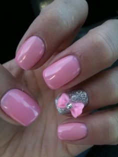 pink nails with pink bow and silver ring nail I envy girls and with well kept nails. Teach me your ways