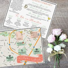 Custom Wedding MAP- Any Location- Houston Texas Map Pictured- Custom Illustrated Wedding Map- Custom Map for Out of Town Bags- Map FeatheredHeartPrints