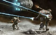 Who doesn't like to see mechs on a moon??? ....Unseen Moon by Shimmering-Sword.deviantart.com on @deviantART