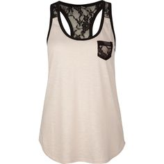 FULL TILT Lace Trim Womens Tank ($19) ❤ liked on Polyvore featuring tops, shirts, tanks, tank tops, blusas, tanks & camis, women, lace trim tank top, pink tank top and racer back tank tops