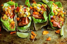 Chili Lime Salmon Tacos with Mango Salsa - Heather Christo. Omit jalapeno and swap corn tortillas out for lettuce wraps or cassava tortillas. Allergy Free Recipes, Diet Recipes, Healthy Recipes, Healthy Chili, Quesadillas, Enchiladas, Guacamole, Salmon Tacos, Pisces