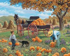 Bits and Pieces - 300 Large Piece Jigsaw Puzzle for Adults - Loadin' Up - 300 pc Fall Pumpkin Jigsaw by Artist John Sloane Images D'art, Art Vintage, Autumn Scenes, Farm Art, Country Paintings, Illustration, Arte Popular, Fall Pictures, Country Art
