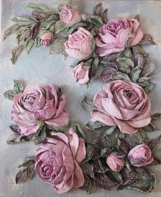 La imagen puede contener: flor y planta Plaster Sculpture, Sculpture Painting, Wall Sculptures, Plaster Crafts, Plaster Art, Clock Painting, Clock Art, Deco Rose, Clay Paint
