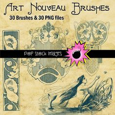 Art Nouveau Frames and Ornaments Brushes - Photoshop Brushes - 1890s to 1900s Ornamental - Instant Download - Photoshop Elements Brushes