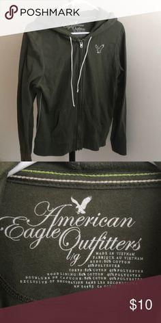 Zip up hoodie Olive green zip up light hoodie from American eagle size large. Worn few times good condition. American Eagle Outfitters Tops Sweatshirts & Hoodies