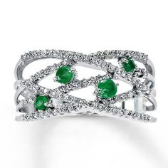 Jared - Natural Emerald Ring 1/5 ct tw Diamonds 10K White Gold