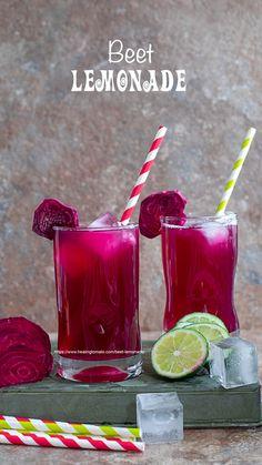 Beet Lemonade - - Turn your boring lemonade into a colorful pink lemonade by using fresh beets. This fancy beet lemonade is very easy to make any time. Fresh Juice Recipes, Homemade Lemonade Recipes, Summer Drink Recipes, Beet Recipes, Juicer Recipes, Tomato Juice Recipes, Water Recipes, Summer Drinks, Fun Drinks