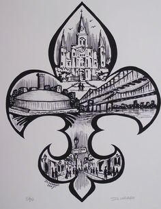Fleur De Lis Painting by the famous New Orleans artist David Wargo. Traditional New Orleans.