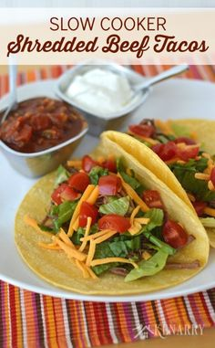 With only 4 ingredients, this shredded beef recipe for easy slow cooker tacos couldn't be easier. Just add your favorite toppings for a delicious weeknight dinner or Cinco de Mayo party! Slow Cooker Shredded Beef, Shredded Beef Recipes, Shredded Beef Tacos, Slow Cooker Tacos, Crock Pot Slow Cooker, Crock Pot Cooking, Slow Cooker Recipes, Crockpot Recipes, Cooking Recipes