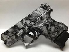 Glock Pistol Hydrographic Film Dipped in Reaper Black Skulls Pistol