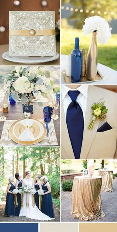 elegant traditional navy and gold country wedding colors. A bit lighter color palette Navy Blue And Gold Wedding, Champagne Wedding Colors, Tan Wedding, Gold Wedding Theme, Wedding Themes, Wedding Flowers, Wedding Decorations, Wedding Ideas, Gold Wedding Colors