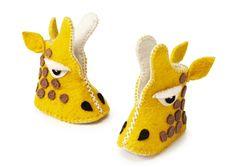 Handmade giraffe baby booties!