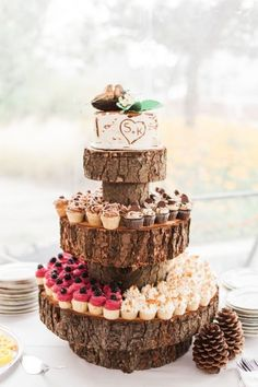 rustic wedding cupcake tower / http://www.deerpearlflowers.com/rustic-wedding-details-ideas-you-will-love/2/