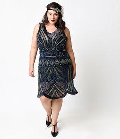 Unique Vintage Plus Size Style Navy Deco Beaded Caspian Flapper Dress Plus Size Vintage Dresses, Plus Size Cocktail Dresses, Plus Size Dresses, Dress Vintage, Fringe Flapper Dress, Flapper Dresses, 20s Dresses, Long Dresses, Party Dresses