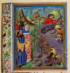 Nimrod directing construction of Tower of Babel. England XIV cent. San Marino, Huntington Lib, HM 906 Dig. Script.