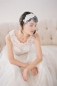 """Short Beaded Lace Birdcage Veil #717V 