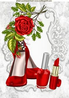 PRETTY RED SHOES AND MAKEUP WITH RED ROSES A4 on Craftsuprint - Add To Basket!