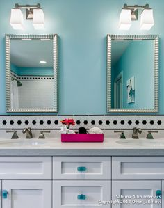 Teen Girls' Bath Project - contemporary - bathroom - san francisco - by Sabrina Alfin Interiors, Inc. Love the look-mirrors, tile, color