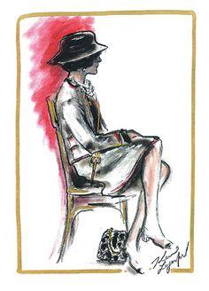 Gabrielle Chanel, betrachtet von Karl Lagerfeld. Originalskizze von Lagerfeld.