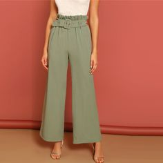 New Fashion Waist Wide Leg Belted Lady Pants - Uniquenstyle Rompers Women, Jumpsuits For Women, Cargo Pants Women, Pants For Women, Fashion Pants, New Fashion, Fashion Ideas, Womens Fashion, Dress Trousers